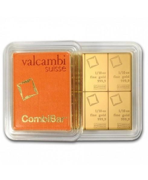 Valcambi CombiBar 10 x 1/10 oz  Gold Bar In Assay
