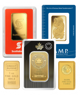 Assorted Brand 1 oz Gold Bars