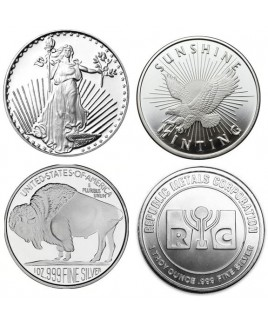 Assorted Brand 1 oz Silver Rounds