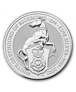 2021 Queen's Beast - The White Greyhound 2 oz Silver Coin